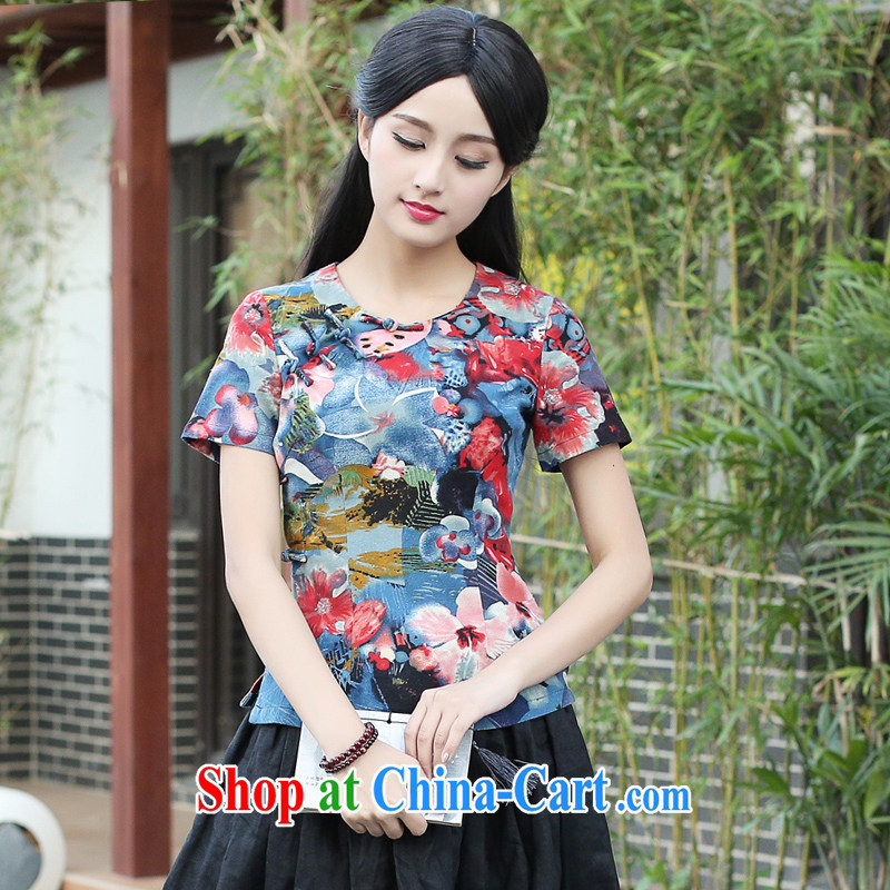 China classic original cotton the Summer round-collar T shirts Chinese qipao shirt, Chinese style beauty floral art L