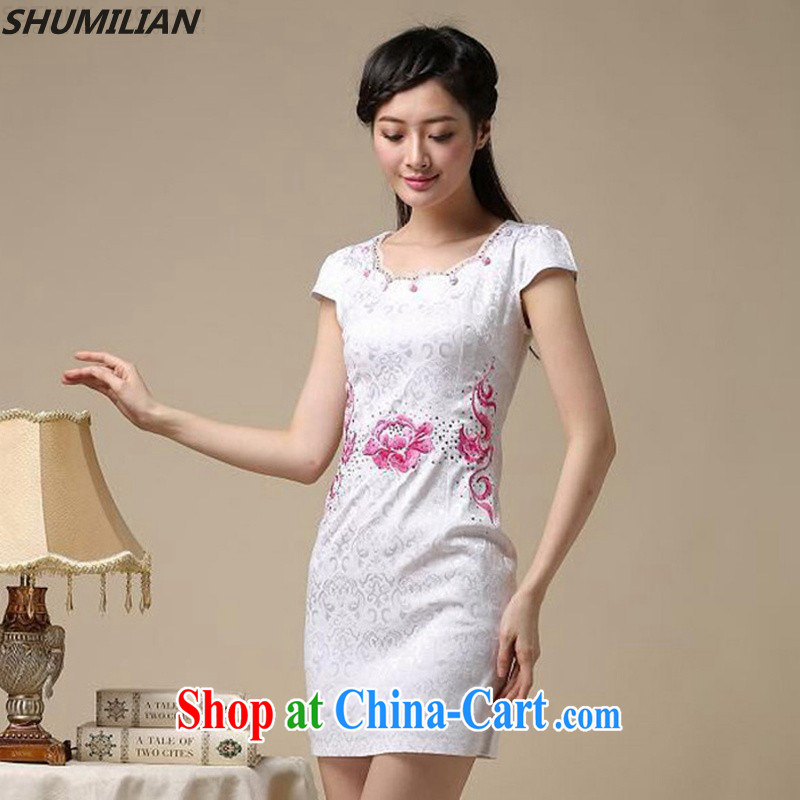 Mrs M land 2015 summer new stylish embroidered panels drill the waist cheongsam white saffron XXL