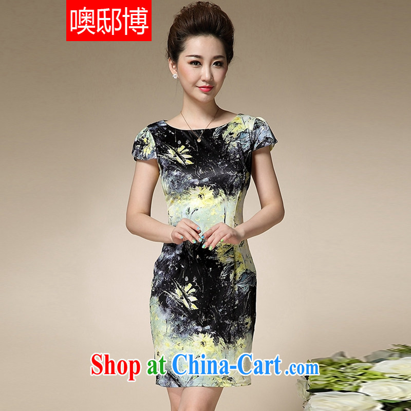 Oh, the 2015 summer new stamp duty mom with short-sleeved cultivating emulation Silk Dresses style retro dresses black XXXL