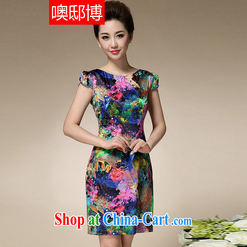Oh, the 2015 summer new stamp duty round-collar short-sleeve MOM replace dresses beauty charm antique dresses blue stamp XXXL
