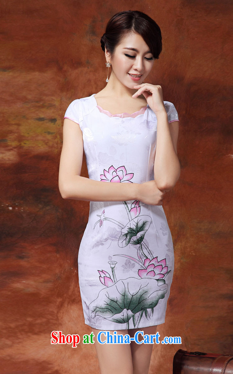Mrs M, summer 2015 the new personality minimalist round 3 D stamp style cheongsam white XXL pictures, price, brand platters! Elections are good character, the national distribution, so why buy now enjoy more preferential! Health
