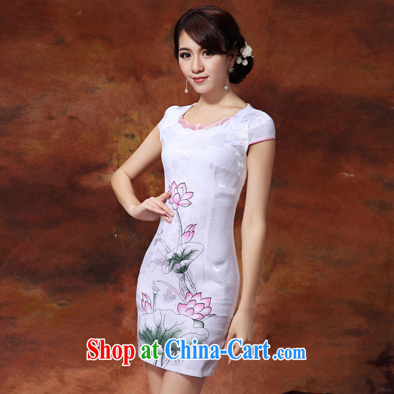 Mrs M land 2015 summer new personality minimalist round 3 D stamp style cheongsam white XXL, Mrs M land (SHUMILIAN), shopping on the Internet