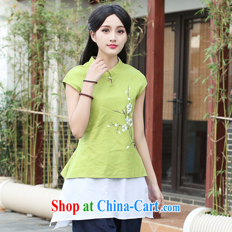China classic original hand-painted cotton the Chinese cheongsam blouses spring and summer improved ethnic wind literary style yellow and green XXL