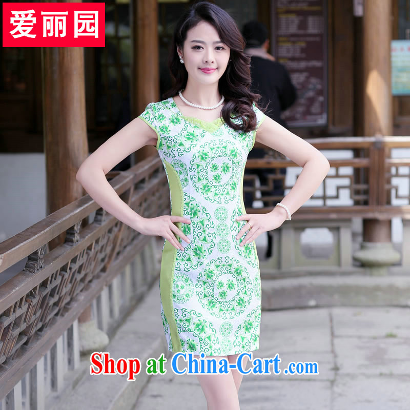 Alice Park 2015 summer new dress qipao Ethnic Wind daily improved cheongsam dress beauty graphics thin larger dresses green XXL