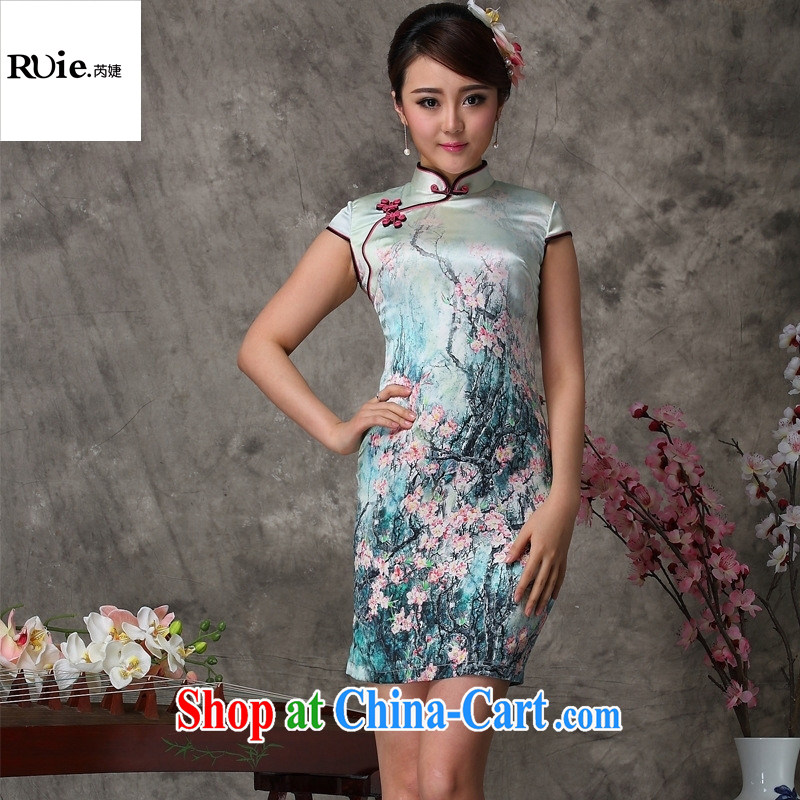 _MU, charm -- heavy silk improved short-sleeved short sauna Silk Cheongsam dress dresses factory sales suit XXL