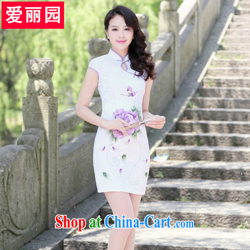Alice Park 2015 summer new female retro New Beauty video thin short-sleeved style improved cheongsam, stamp duty on dresses girls purple Peony XL recommendations 110 - 125 jack