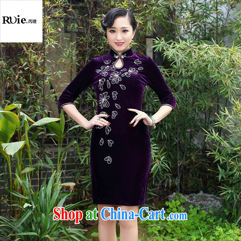 Mu Lan charm 2015 Lunar New Year New products first hand nails Pearl velvet cheongsam banquet dress 237 in purple cuff XXXL