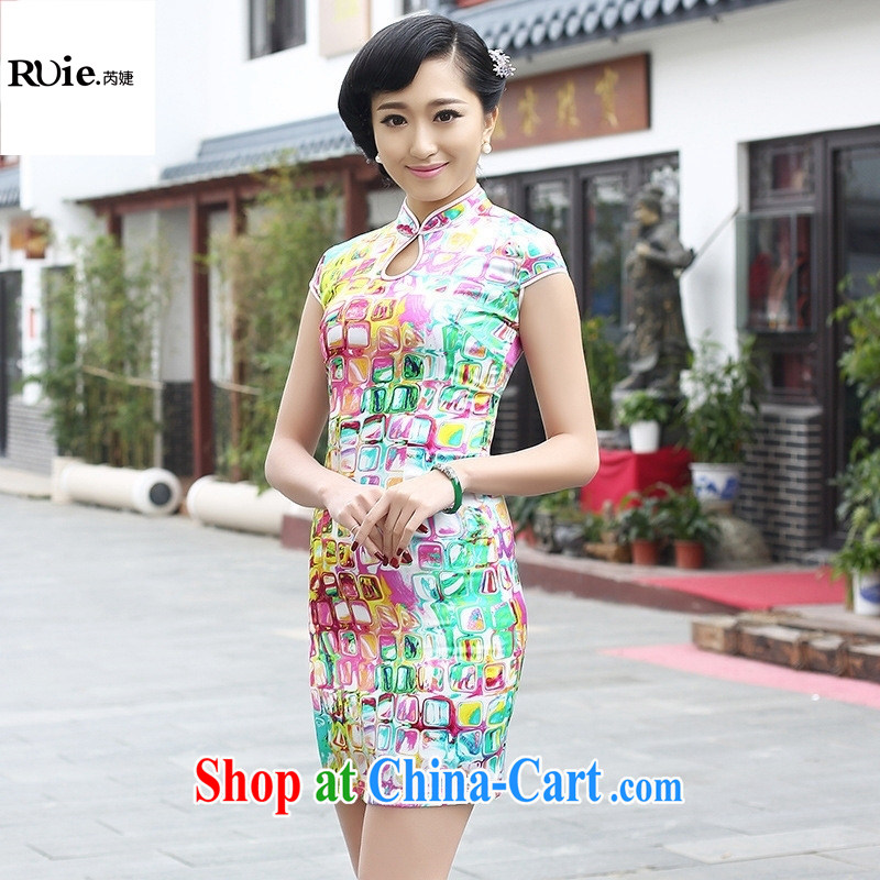2015 new summer fashion cheongsam dress improved cheongsam retro exclusive sauna silk Silk Cheongsam green XXL