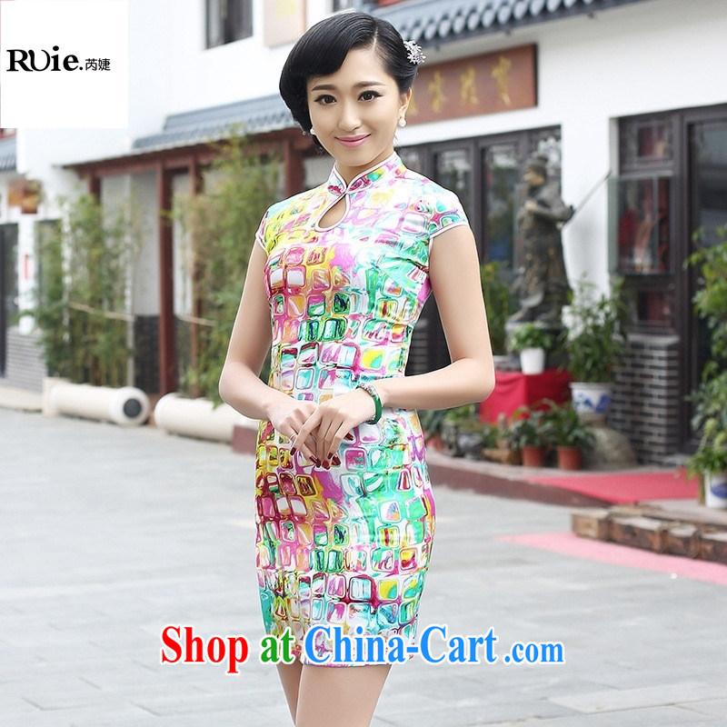 2015 new summer fashion cheongsam dress improved cheongsam retro exclusive sauna silk Silk Cheongsam green XXL