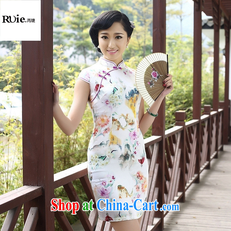 Mu Lan charm spring 2015 new dresses Silk Cheongsam high graphics thin Chinese antique dresses white XXL
