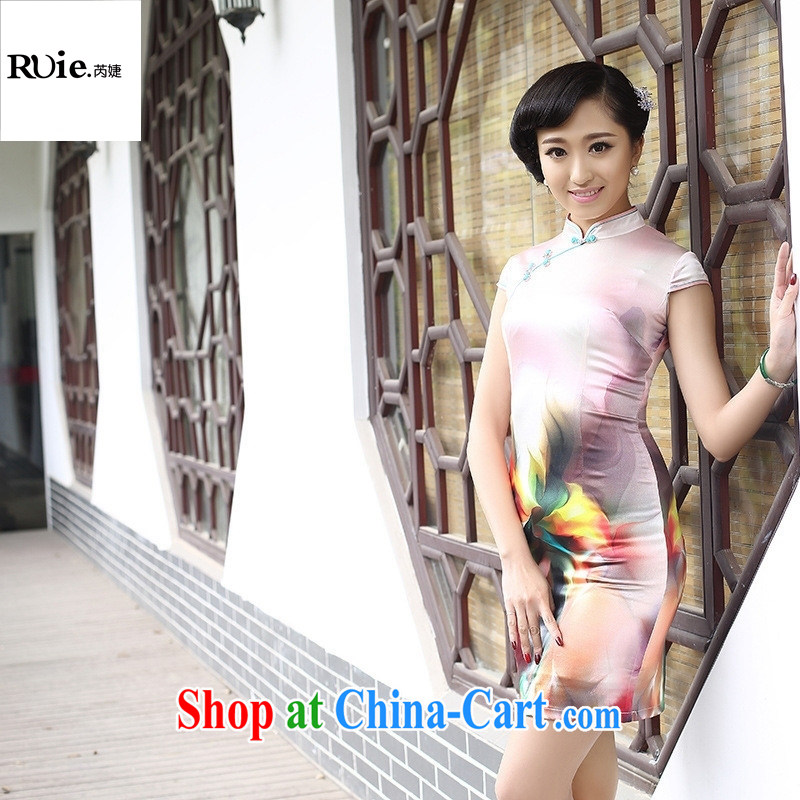 New Listing sauna Silk Cheongsam simple and elegant and exclusive heavy silk summer Lotus beauty dresses pink XXL