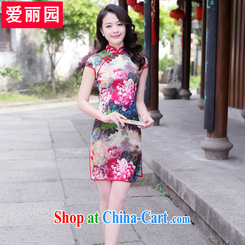 Alice Park summer 2015 New Silk retro dresses, silk printing, the skirt dresses beauty-package skirt red Peony L recommendations 105 - 115 jack
