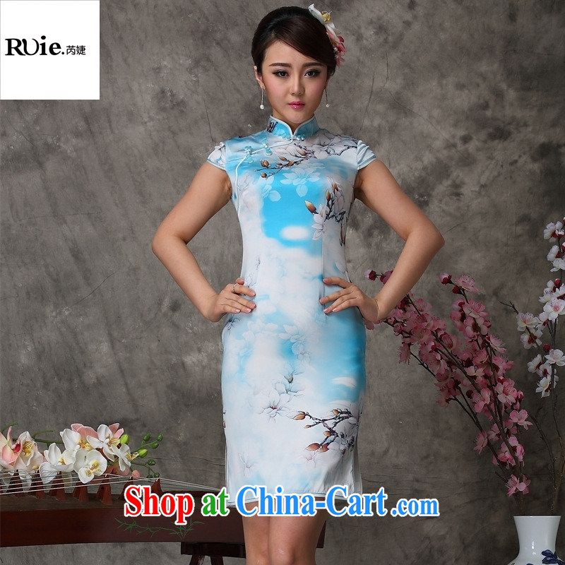 Factory sales Mu Lan charm cheongsam stylish summer new sauna silk Silk Cheongsam 8032 blue XXL
