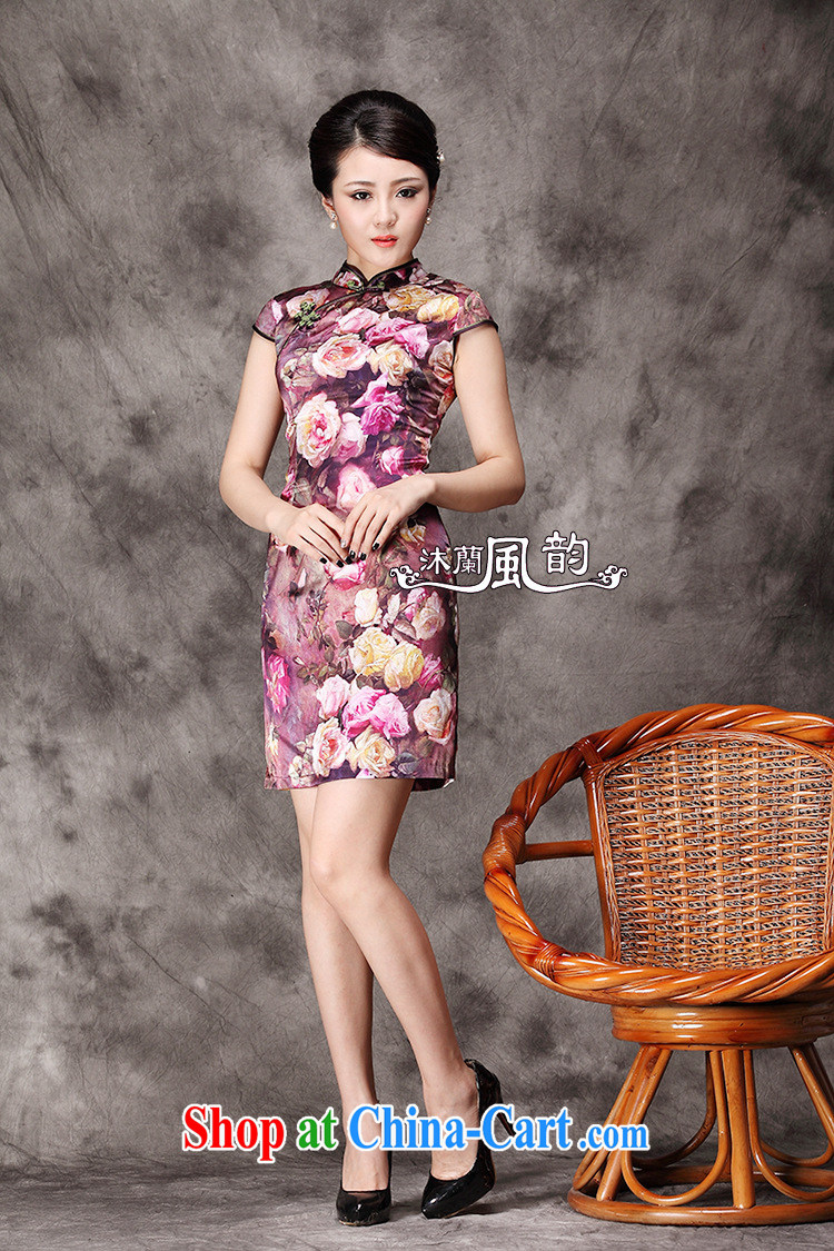 qipao heavy Silk Cheongsam improved stylish summer stretch Satin short cheongsam dress green L pictures, price, brand platters! Elections are good character, the national distribution, so why buy now enjoy more preferential! Health