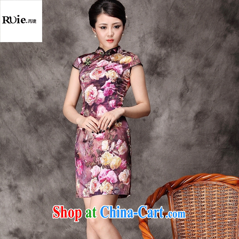 qipao heavy Silk Cheongsam improved stylish summer stretch Satin short cheongsam dress green L