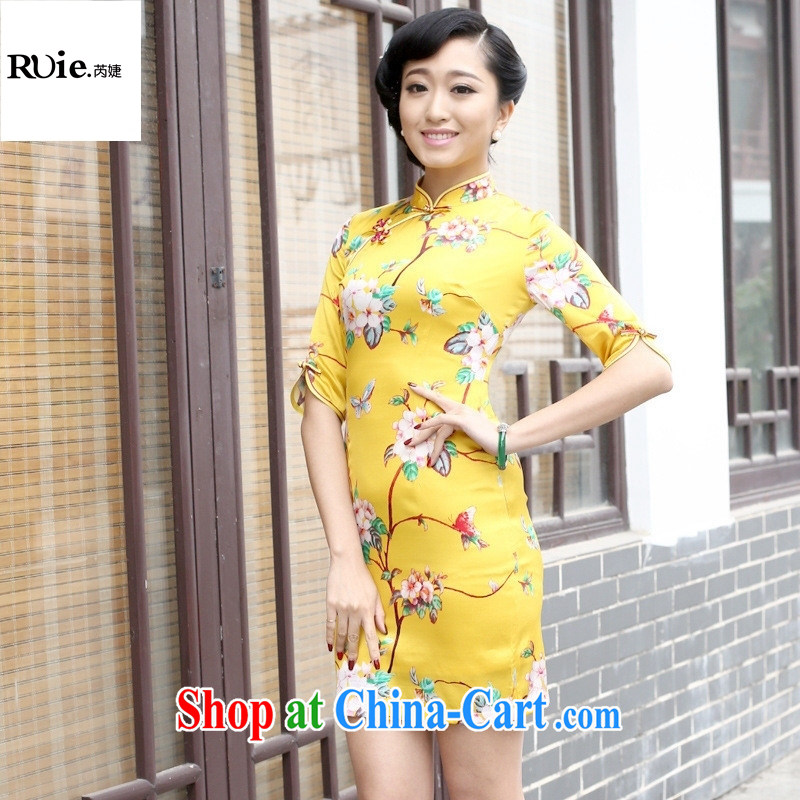 Factory 2015 new summer short improved stylish Silk Cheongsam dress silk short-sleeved girls dresses in yellow cuff XXL