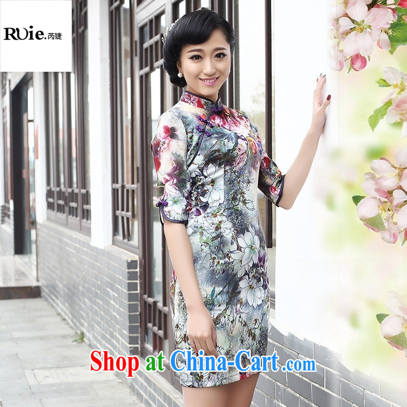 2015, first in the cuff silk sauna beauty Silk Cheongsam dress Retro is not the forklift truck short cheongsam dress cuff in XXL