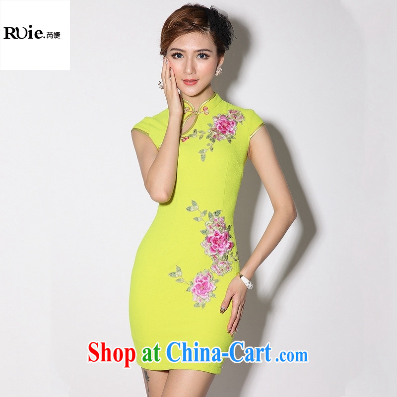 Dresses new Chinese Antique short daily improved cheongsam dress qipao cheongsam dress factory skirt Green Yellow XXL