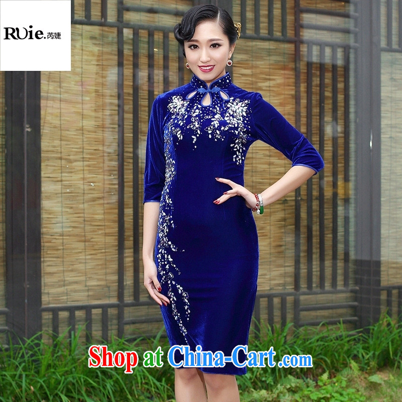 Mu Lan charm spring 2015 the short sleeves in manually staple Pearl velvet cheongsam dress 235 blue in XXXL cuff