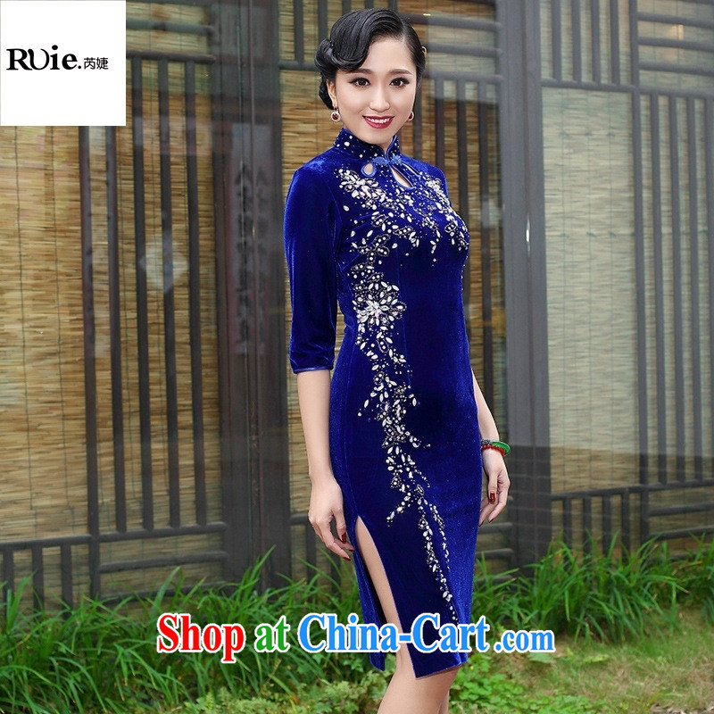 Mu Lan charm spring 2015 the short sleeves in manually staple Pearl velvet cheongsam dress 235 blue in XXXL cuff, health concerns (Rvie .), and shopping on the Internet