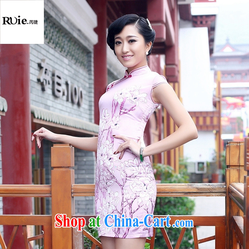 2015 female Loading Source retro improved sauna silk heavy Silk Cheongsam beauty spring and summer cheongsam dress pink XXL