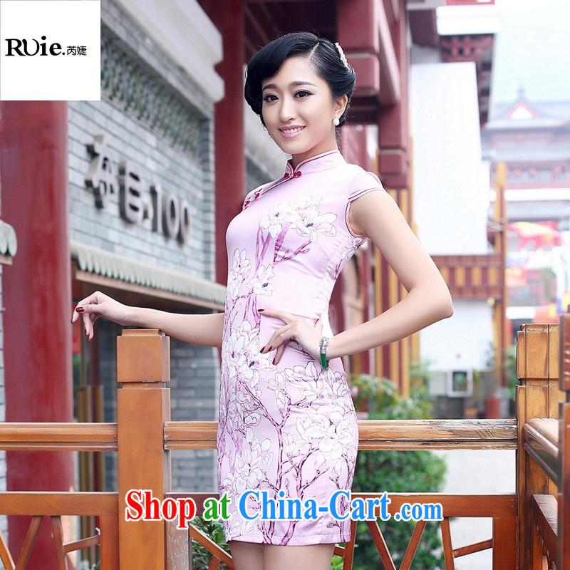 2015 female Loading Source retro improved sauna silk heavy Silk Cheongsam beauty spring and summer cheongsam dress pink XXL
