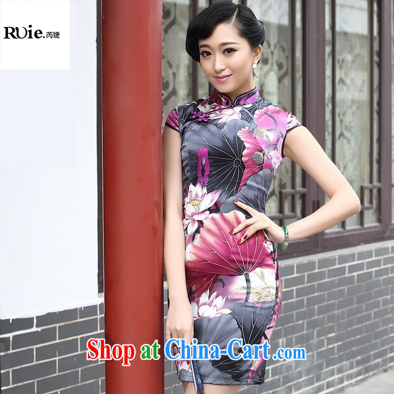2015 spring fashion cheongsam dress improved retro upscale sauna silk Silk Cheongsam 8053 purple XXL