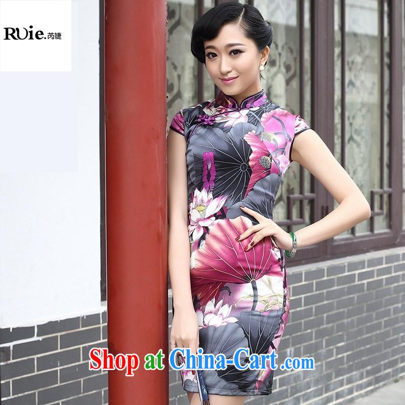 2015 spring fashion cheongsam dress improved retro upscale sauna silk Silk Cheongsam 8053 purple XXL