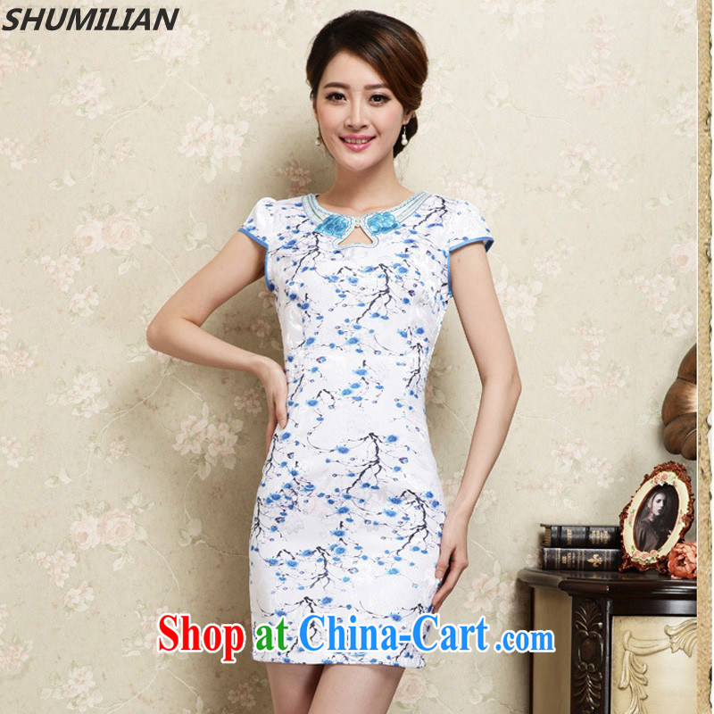 Mrs M, summer 2015 new stylish personalized embroidered round neck jacquard style cheongsam light blue XL