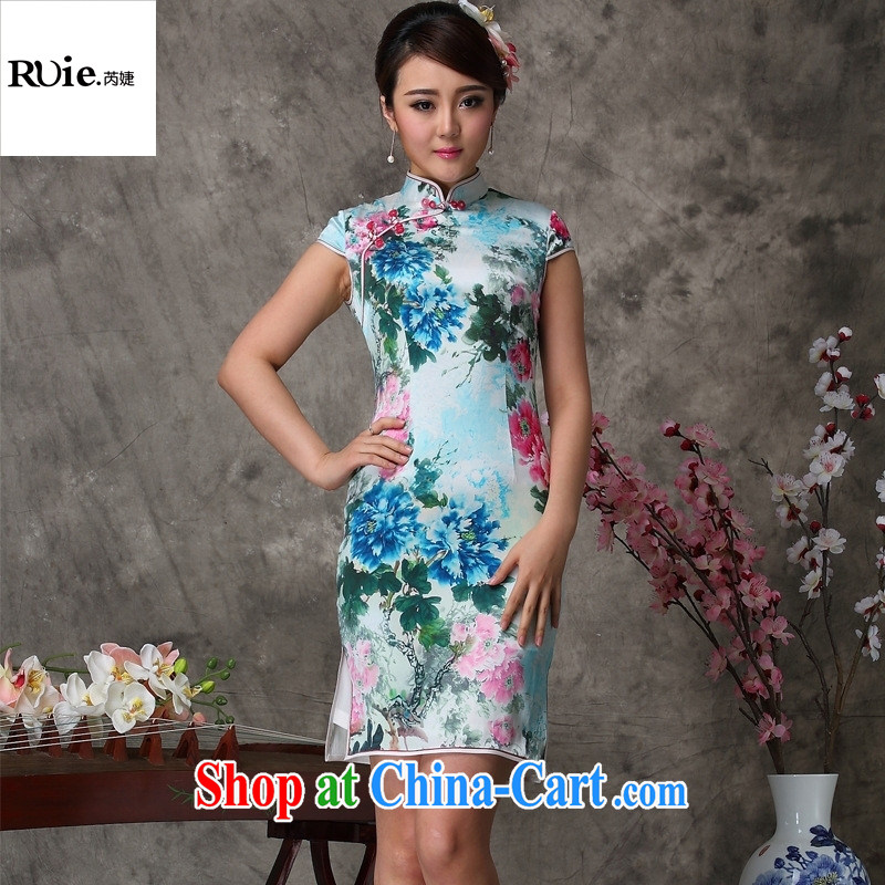 Mu Lan charm bubbles blue 12,015 new retro improved stylish short Silk Cheongsam dress summer 8029 blue XXL