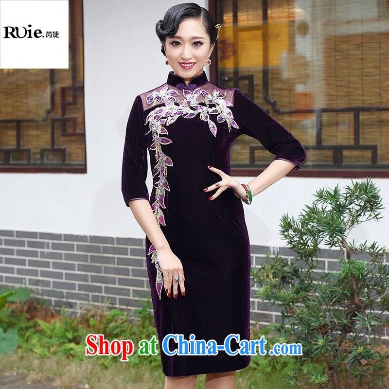 Manufacturers supply Tang replace 2015 spring new wool embroidery cheongsam dress short dress 262 in purple cuff XXXL