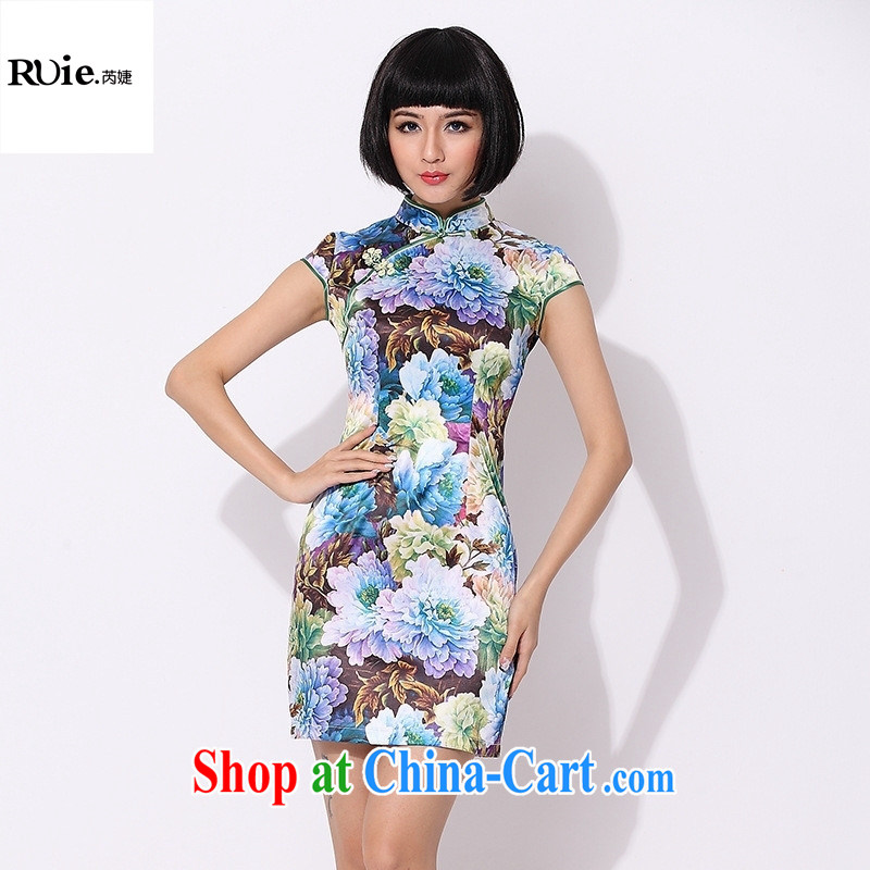 Supply 2015 new spring fashion improved short, cultivating cheongsam dress dress 007 blue XXL