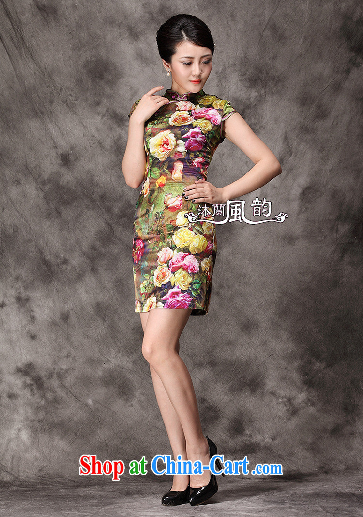 qipao heavy Silk Cheongsam improved stylish summer stretch Satin short cheongsam dress purple XXL pictures, price, brand platters! Elections are good character, the national distribution, so why buy now enjoy more preferential! Health