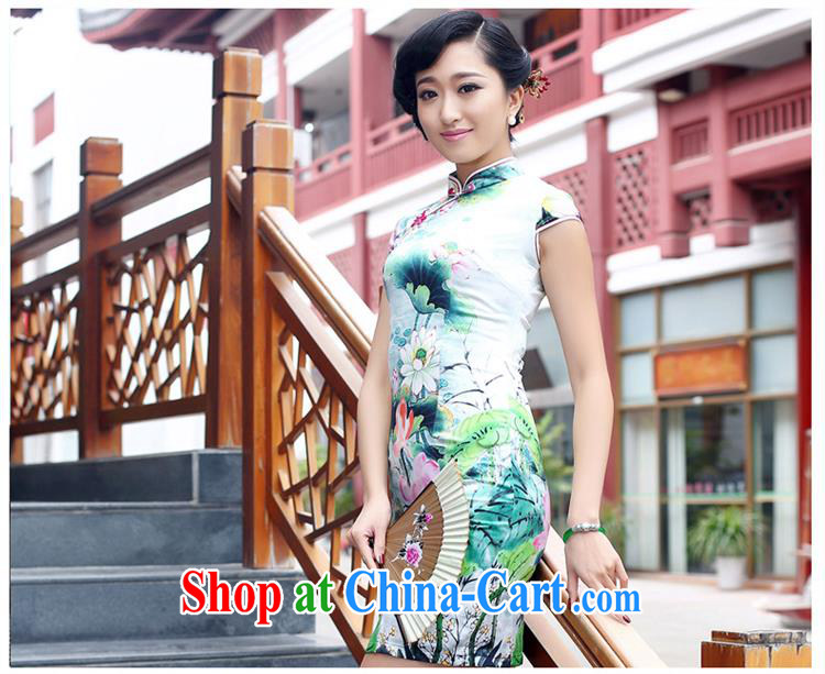 Superior Double heavy silk sauna Silk Cheongsam improved stylish summer retro dresses dresses green XXL pictures, price, brand platters! Elections are good character, the national distribution, so why buy now enjoy more preferential! Health