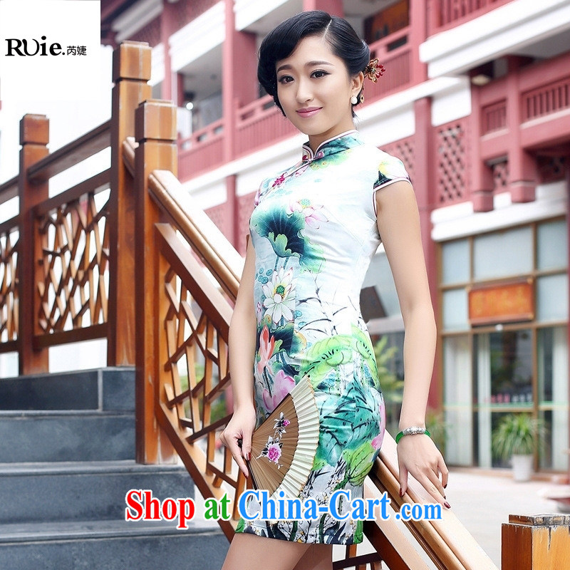 Superior Double heavy silk sauna Silk Cheongsam improved stylish summer retro dresses dresses green XXL