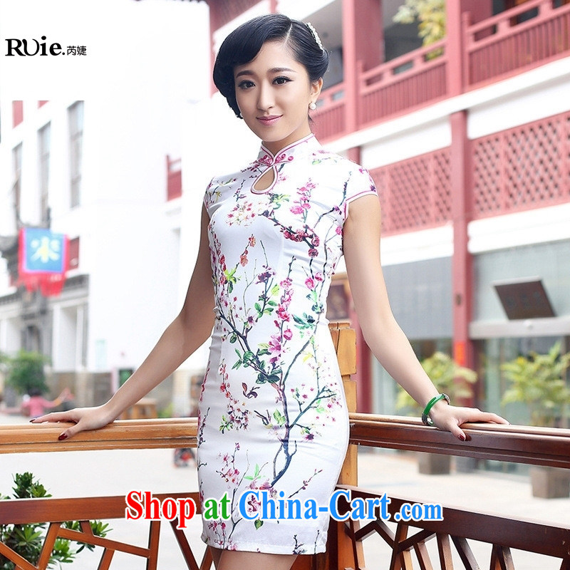 Summer 2015 New factory direct new high-end custom 100_ heavy Silk Cheongsam white XXL