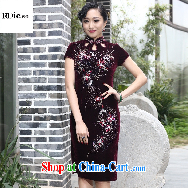 Burglary, spring and new plush robes, long paragraph in cultivating older MOM retro improved manually staple Pearl purple short-sleeved XXXL