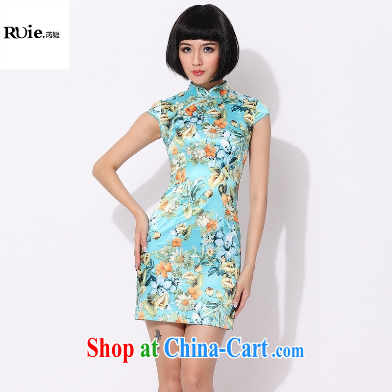 2015 qipao cheongsam new improved stylish summer cotton cultivating cheongsam dress 2014 New Green XXL