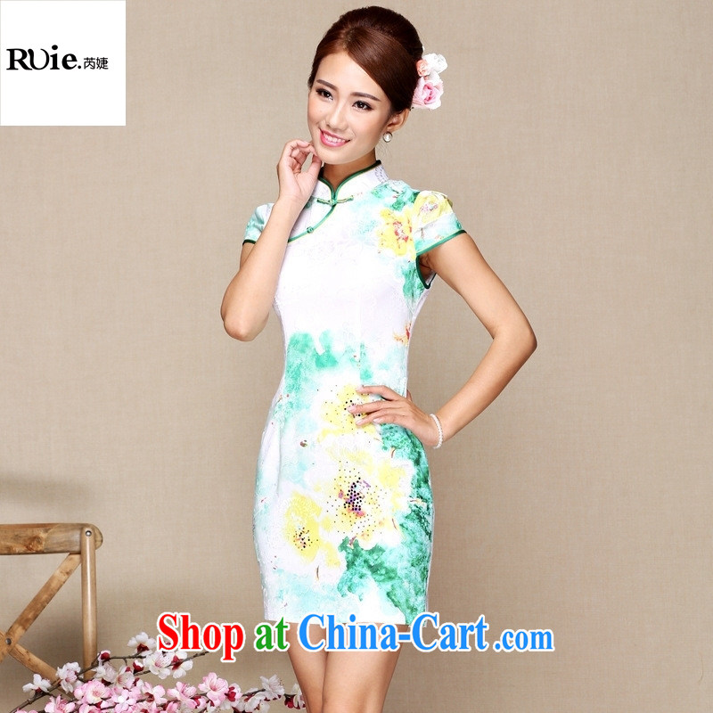 Goods Manufacturers summer new antique Chinese qipao daily short improved fashion cheongsam white XXL
