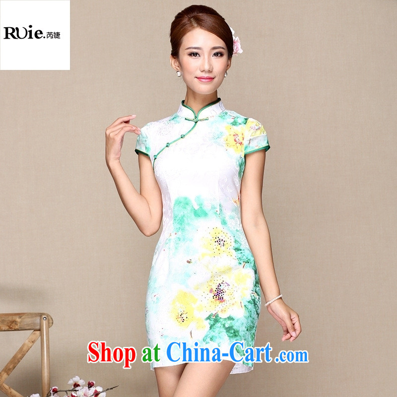Goods Manufacturers summer new antique Chinese qipao daily short, improved stylish dresses white XXL, health concerns (Rvie .), and, on-line shopping