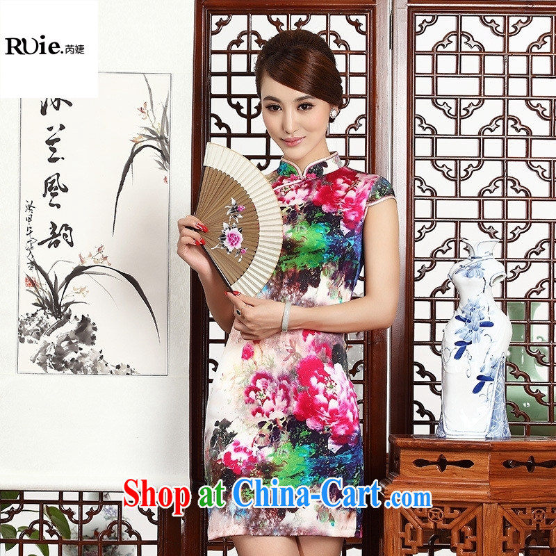 (MU, charm -- heavy silk improved short-sleeved short sauna Silk Cheongsam dress dress suit 8035 XXL