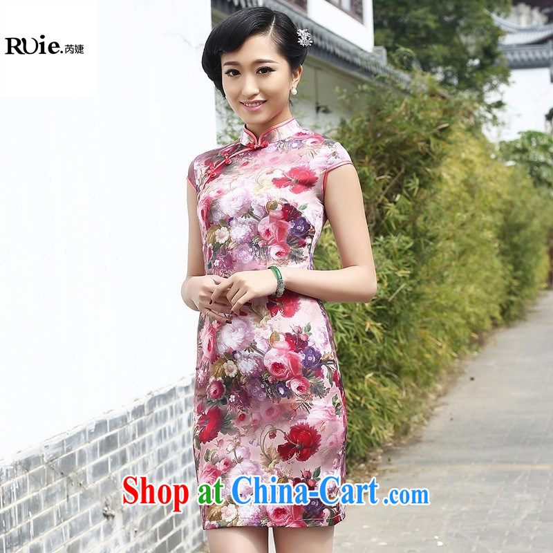 2015 new products from high-end beauty silk sauna Silk Cheongsam manufacturers Chinese Dress dresses red XXL