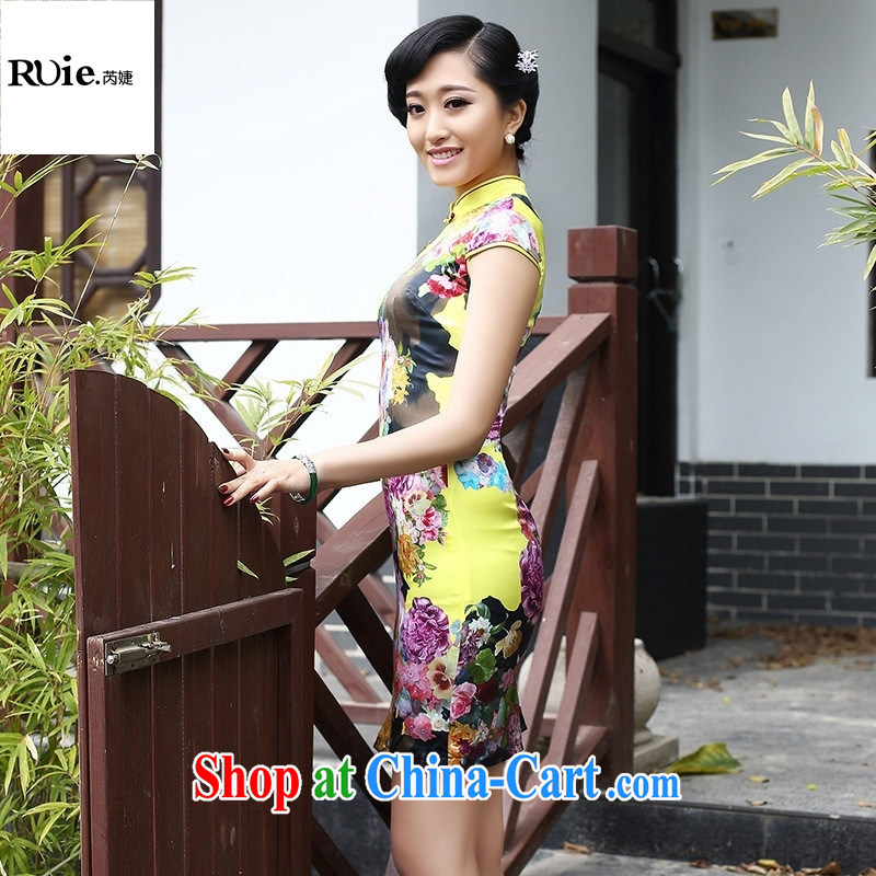 2015 spring retro New Name Yuan elegance beauty cheongsam silk stretch satin dress 8058 yellow XXL