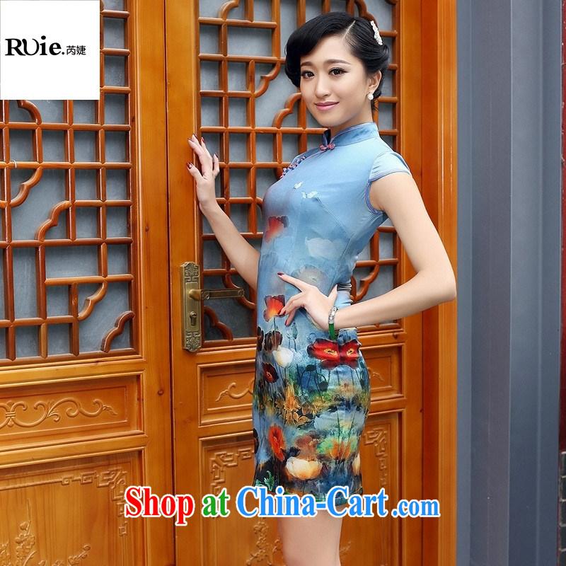 Mu Lan charm 2015 spring new heavy silk stamp sauna Silk Cheongsam-yi 8076 blue XXL