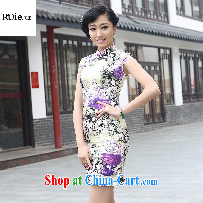 Silk Dresses summer new stamp duty exclusive sauna silk, genuine antique elegant short cheongsam dress 8072 purple XXL