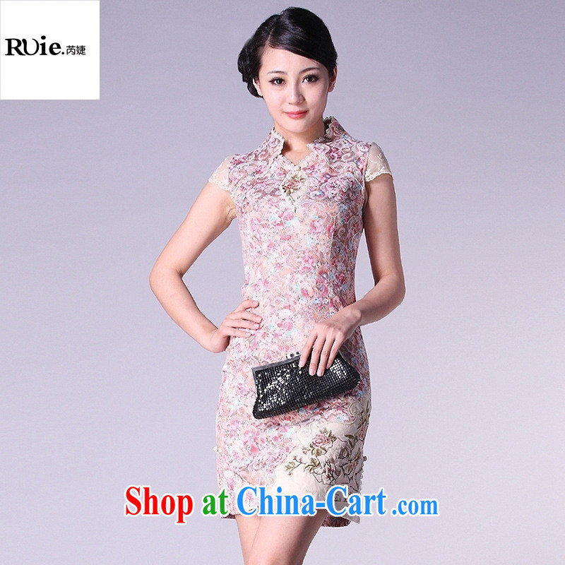 Dresses 2015 new summer short, improved stylish embroidered cheongsam factory direct cheongsam dress burglary, yellow XXL
