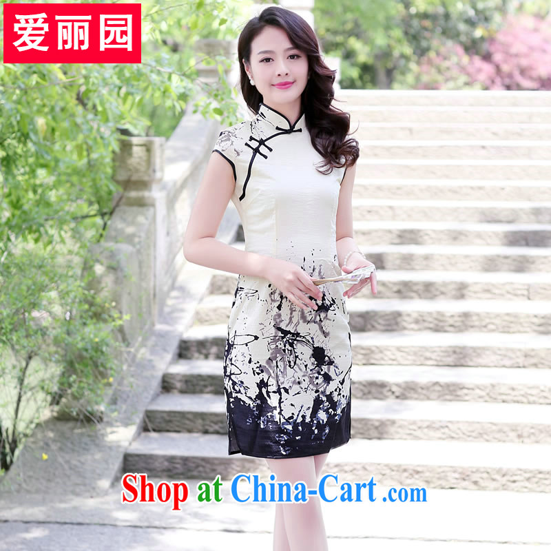 Alice Park 2015 summer new women with short dresses, Retro Beauty Fashion improved daily cheongsam dress dresses female XXL