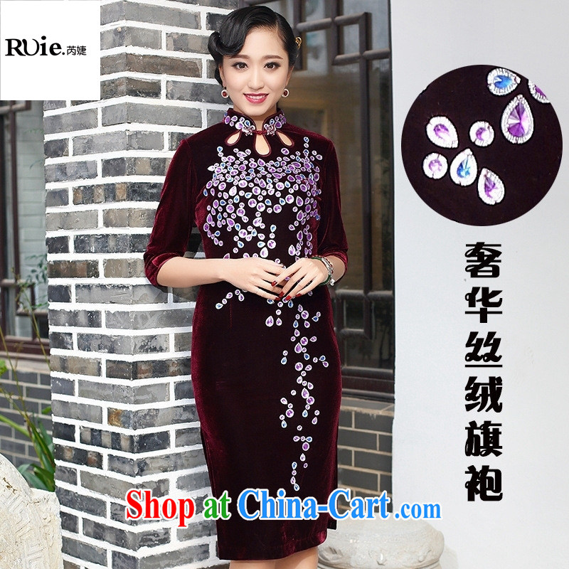 MOM wedding dresses wedding dresses 2015 new spring dress, Ms. Kim wool improved stylish retro dresses 265 wine red short-sleeved XXXL