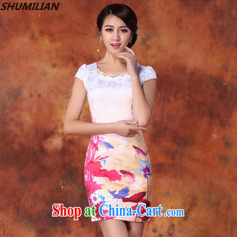 Mrs M, summer 2015 new stylish petal collar stamp outfit red XXL