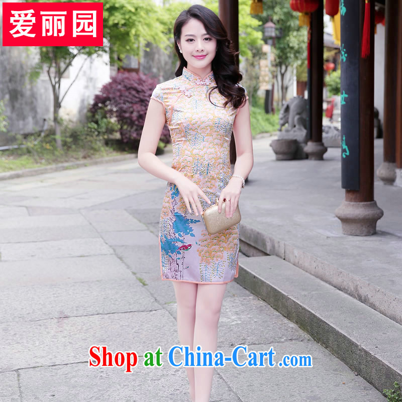 Alice Park 2015 summer new women with short skirts stamp dress retro improved daily cultivating the waist double the forklift truck, dresses skirts small perfume XXL